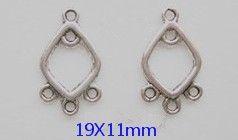 Intercalaires connecteurs forme losange aux 5 anneaux  19 x 11 Qte : 5