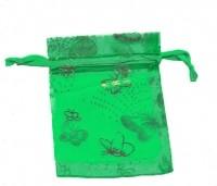Sachet organza 120X90 mm  vert + papillon Qte : 5