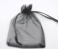 Pochettes cadeau Organza noir  90x70 mm X 5