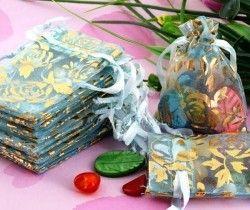 Pochettes Sachet Sac ( 70 x 50 mm ) Organza pour Mariage Couleur bleu + deco X 5