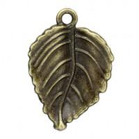 Pendentifs breloques Feuille Bronze  29x20mm  Qte : 2