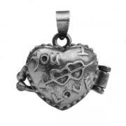 Pendentif Boîte des Rêves Coeur Argenté gris 16x18mm  X 1