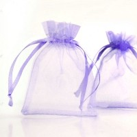 pochettes Cadeau organza violet 70x90mm  X 5