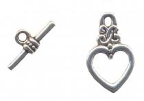 Fermoirs coeurs anneau : 15 mm et toggle :15 mm Qte : 10