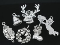 Mixte Pendentifs Charms Noël  Qte : 15 ( 10 x 10 mm a 30 x 10 mm )