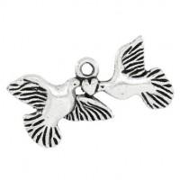 Breloques Pendentifs Coeur Pigeon 25x12mm  Qte : 2