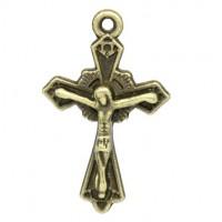 Pendentifs breloque  Jésus Croix Bronze 23x15mm  Qte : 2