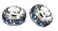 Rondelles strass 6 mm Light sapphire et argent