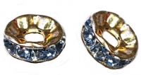 Rondelles strass 6 mm Light sapphire et or
