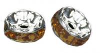 Rondelles strass 6 mm Topaz et argent