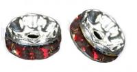 Rondelles strass 6 mm Siam et argent