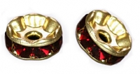 Rondelles strass 6 mm Siam et or