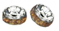 Rondelles strass 6 mm Light col topaz et argent