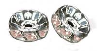 Rondelles strass 6 mm Light rose et argent