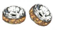 Rondelles strass 6 mm Light topaz et argent