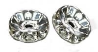 Rondelles strass 8 mm crystal AB et argent