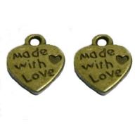 Breloques coeurs bronze ''MADE WITH LOVE'' 10 X 12 mm Qte : 2
