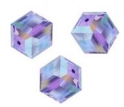 Perles cubes Swarovski 6 mm ( 5601 ) Tanzanite X 1
