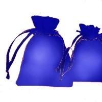 Pochettes Cadeau organza bleu fonce 70x90mm X 5