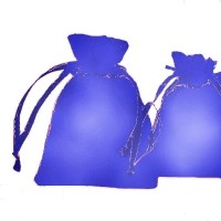 Pochettes Cadeau organza Bleu rose 70x90mm X 5