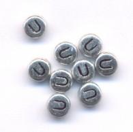20 Perles intercalaires Lettre U Acrylique Argenté 7x7mm