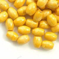 650 Perles en bois Grain de riz jaune 6x4mm taille du trou = 1.6 mm