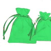 Pochettes Cadeau organza vert  120x90mm X 5