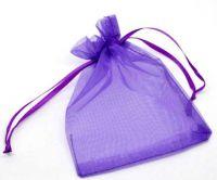 Sachets Organza Violet foncé Cadeaux 90x70 mm Qte : 5