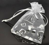 Pochettes Coeur Organza Blanc Cadeau 90x120 mm Qte : 5