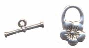 Fermoirs fleur anneau : 20 mm et toggle :20 mm Qte : 10