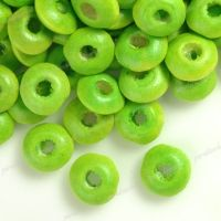 800 Perles en bois Rondelle vert 3x6mm