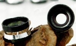 Perles Cylindre d'Aluminium Noir et Argenté 4x6mm  Qte : 10