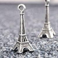 Breloques La Tour Eiffel Argent Tibétain 31x11x11mm  Qte : 2