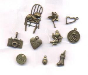Mixte Pendentifs Charms Couleur Bronze 18x17-27x9mm X 10