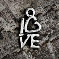 Breloques LOVE en Argent tibétain 14.5x8mm  Qte : 2