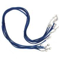 Cordon cuir bleu foncé Suède 47cm  Qte : 1