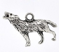 Breloques  Loup argenté  25x18mm X 2