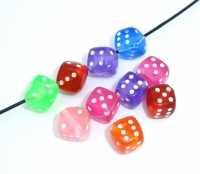 Mixte Perles Intercalaires Cube/Dé Acrylique 9x9mm ...taille du trou = 1.3 mm  X 20