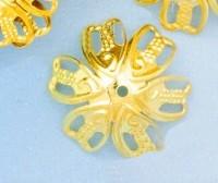 Calotte Coupelles  Fleur Doré 16.5x16.5mm  Qte : 10