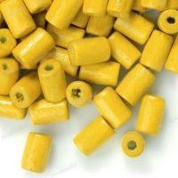 450 Perles en bois Tube jaune 8x5mm