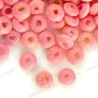 800 Perles en bois Rondelle rose 3x6mm