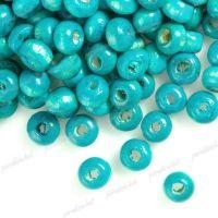 1400 Perles en bois Rond bleu  3x4mm  ..taille du trou = 1.4 mm