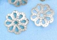 Calotte Coupelles  Fleur Gris Argenté 1.5x6.5mm   X 20