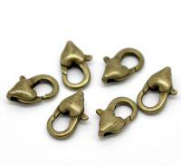 Fermoirs à Mousqueton Coeur Couleur Bronze 12x7mm X 5