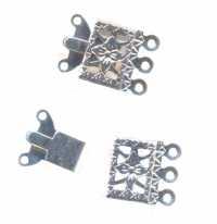 Fermoir bijoux filigrane 3 rangs 19 x 10 mm argent X 30