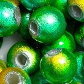 Perles Magiques Miracles Rondes   4mm VERT ET JAUNE X 20