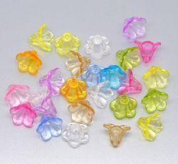 Mixte Perles Coupelles Fleur Acrylique 14x10mm X 20