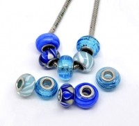Mixte Perles  Verre  Bleues   X 10