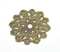 Connecteurs Fleur Filigrane Couleur Bronze 4.7x4.7cm taille du trou = 3 mm X 5