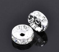 Rondelles strass 10 mm crystal  et argent  X 4